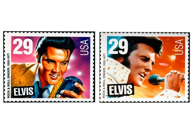 29-cent Elvis Presley stamps issued in 1993 (USPS/AP Photo)