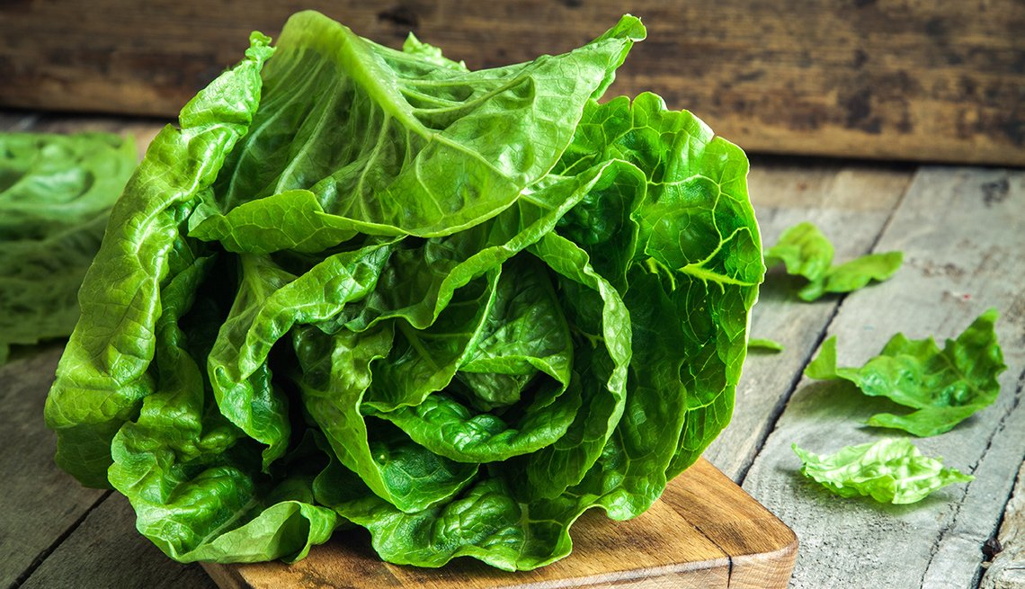 A view of a head of romaine lettuce