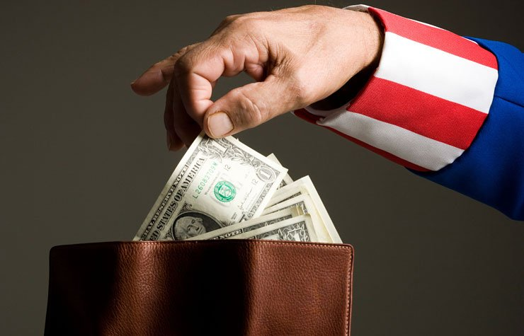 Uncle Sam taking money from wallet