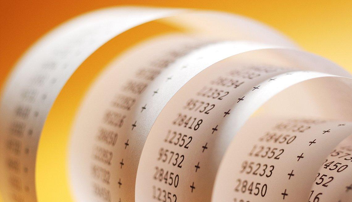 a coiled calculator printout