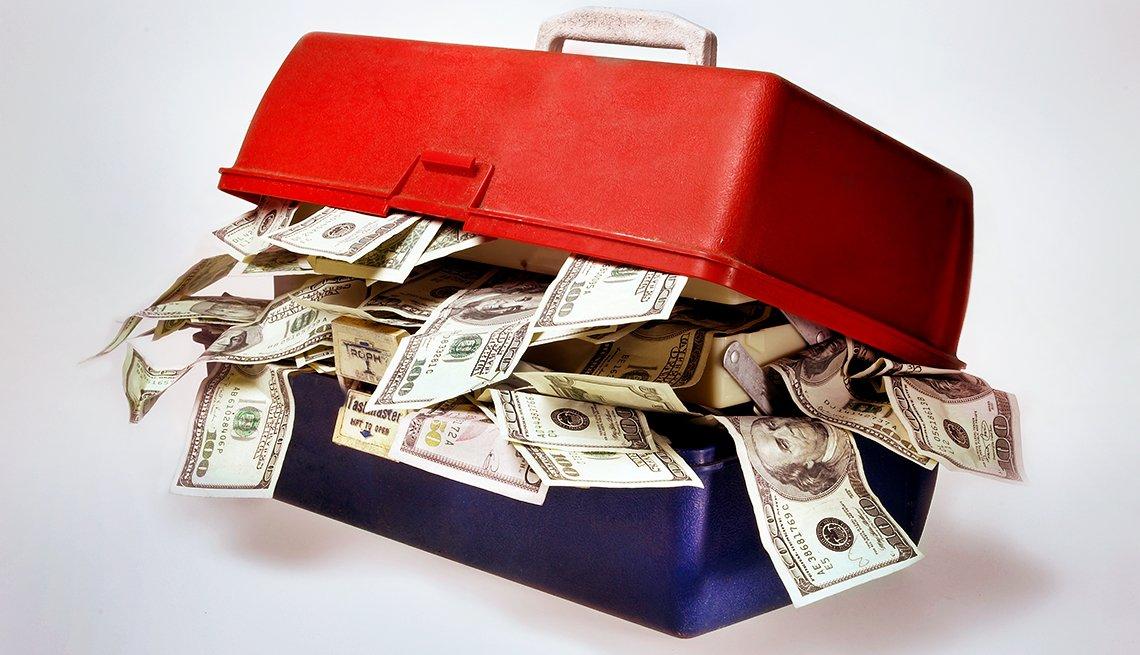 tool box full of money