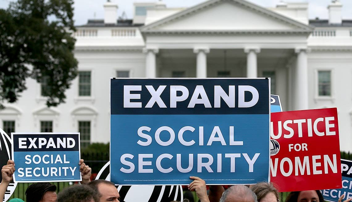 A rally urging the expansion of Social Security benefits in front of the White House in Washington, D.C.
