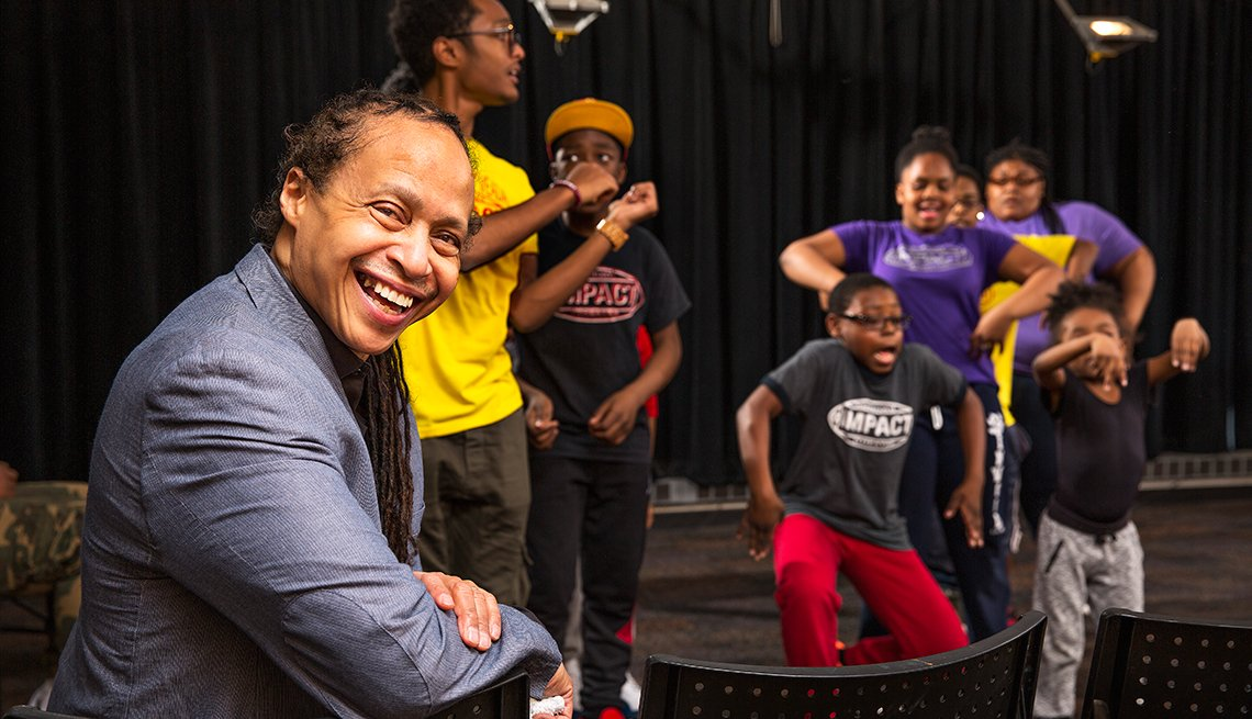 Jamal Joseph, 63, during a rehearsal this summer with performers from the IMPACT Repertory Theatre in Harlem.