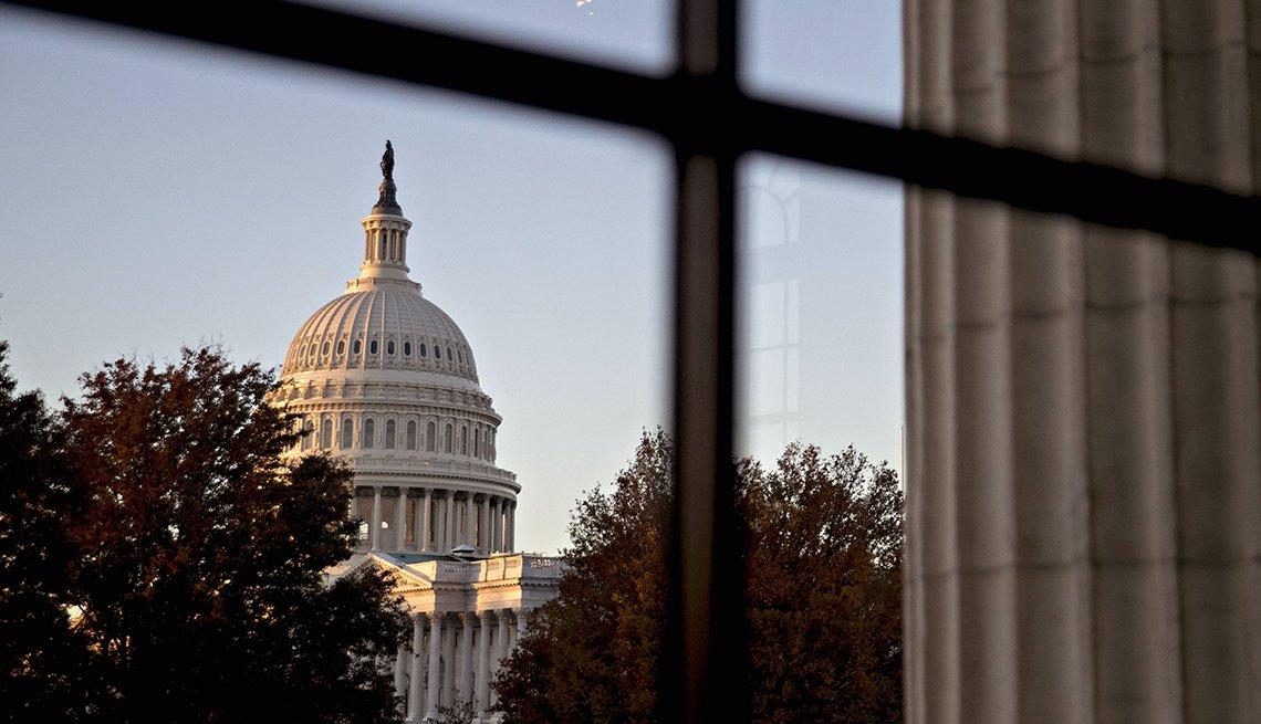US Capitol seen through a window