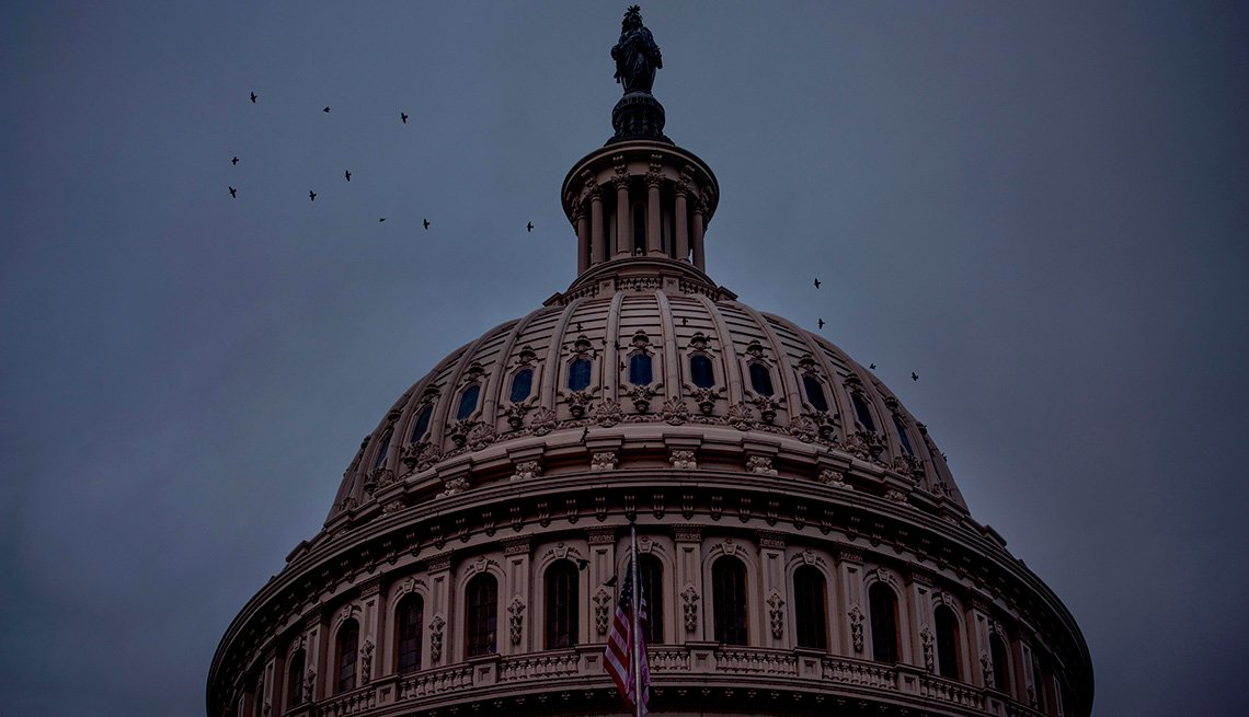 capitol dome with lights off in washington dc
