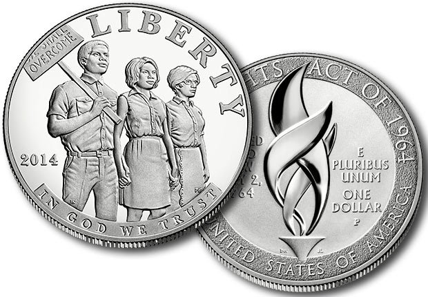 The 2014 Civil Rights Act of 1964 Silver Dollar features three people holding hands at a civil rights march.