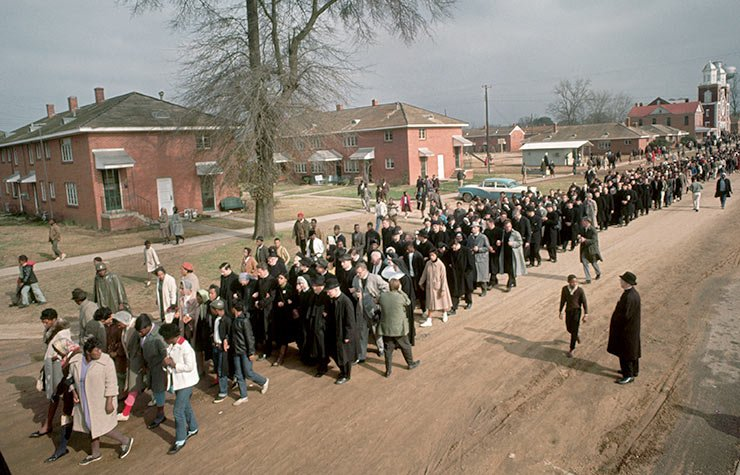 A civil rights rights march to Montgomery walks past Brown Chapel in Selma in 1965, Historical Review of Leading Black Civil Rights Organizations