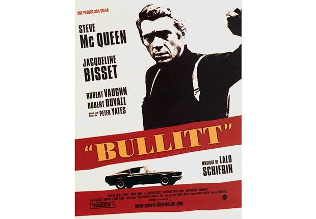 Movie poster from Bullitt, featuring Steve McQueen.
