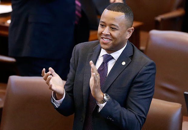 Speaker of the Oklahoma House, Rep. T.W Shannon, R-Lawton, applauds on the floor of the House during the second day of a special session of the legislature in Oklahoma City.