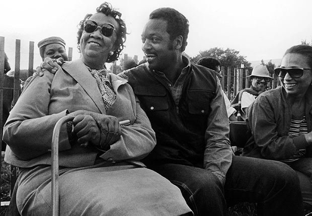 Dorothy Height, Jesse Jackson, and Jackson's wife Jacqueline attend the National Council of Black Women's Black Family Reunion Celebration in 1986.