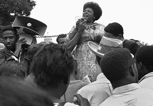 Mrs. Fannie Lou Hamer of Ruleville, MS, speaks to Mississippi Freedom Democratic Party sympathizers outside the Capitol in Washington, September 17, 1965