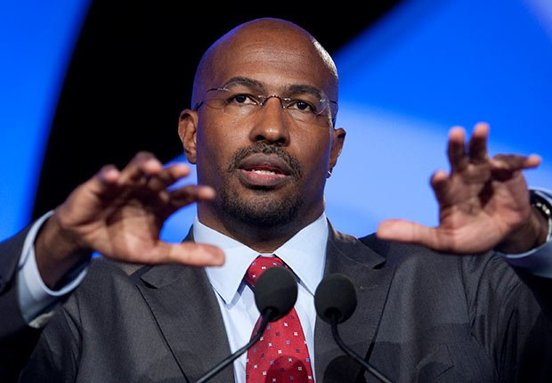 Van Jones, special adviser for green jobs, enterprise and innovation with the White House Council on Environmental Quality, speaks at a session during the National Summit in Detroit, Michigan.