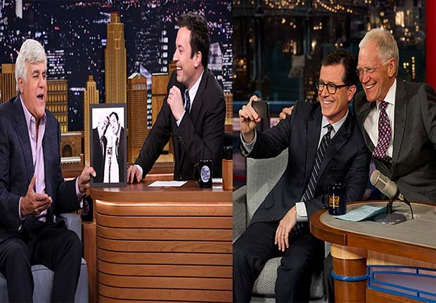 Jay Leno talking to Jimmy Fallon. Stephen Colbert and David Letterman takes a photo together, 2014/2015 Out/In List