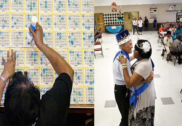 Woman playing Bingo. Senior man and woman dancing in room Senior Citizen Prom, 2014/2015 Out/In List