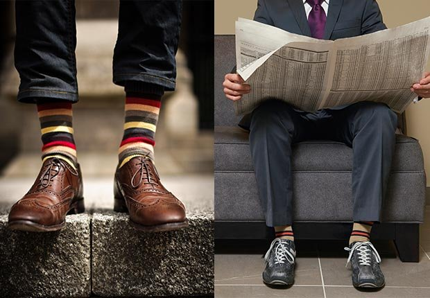 Legs of a man wearing brown shoes. Man sitting wearing sneakers with suit, 2014/2015 Out/In List