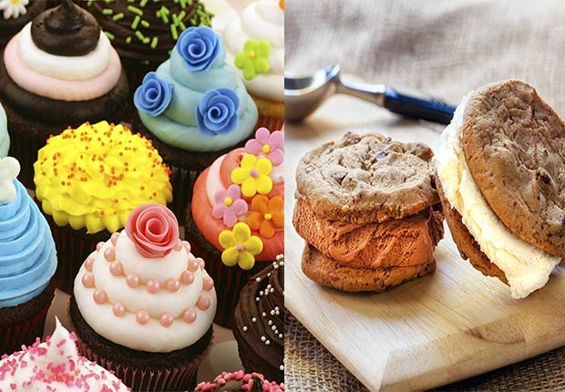 Close up of various Cupcakes. Ice cream sandwiches on cutting board, 2014/2015 Out/In List
