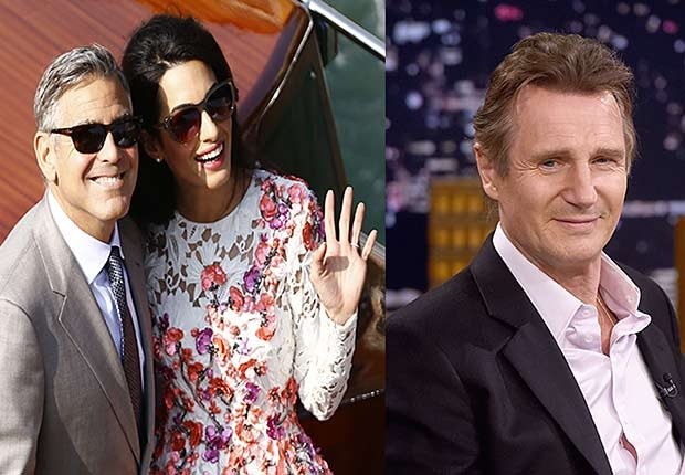 George Clooney with wife Amal Alamuddin on boat ride. Close up of Liam Neeson, 2014/2015 Out/In List
