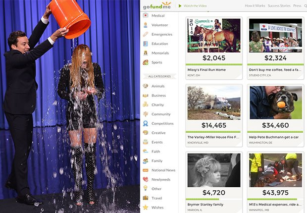 Jimmy Fallon and Lindsay Lohan do Ice Bucket Challenge. Screen Shot of GoFundMe home webpage, 2014/2015 Out/In List
