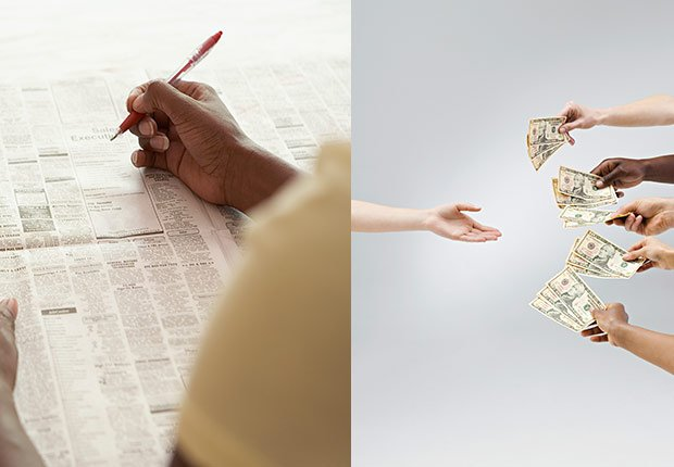 Woman reading classified ads. Four hands giving money to one hand crowdfunding, 2014/2015 Out/In List