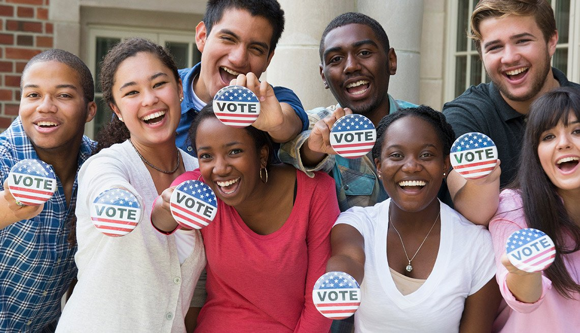 young people with Vote buttons, Voting Rights Act of 1965