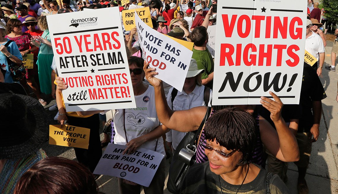 Voting Rights Act of 1965, Demonstrators march, Winston-Salem, N.C.,