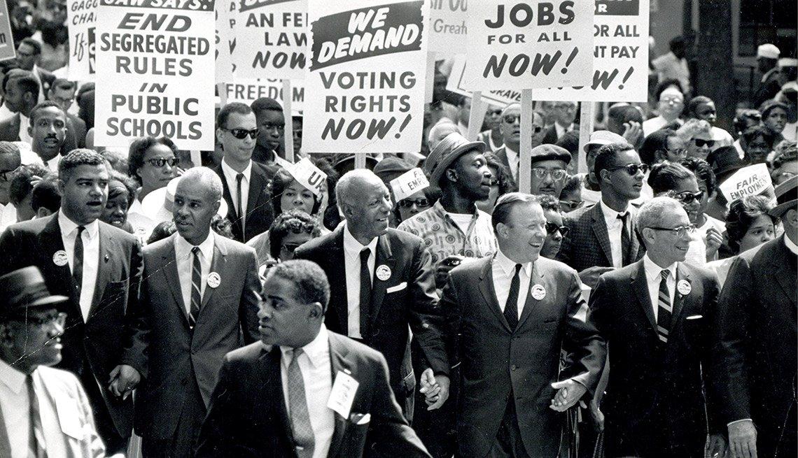 Manifestación a favor de los derechos civiles en 1965