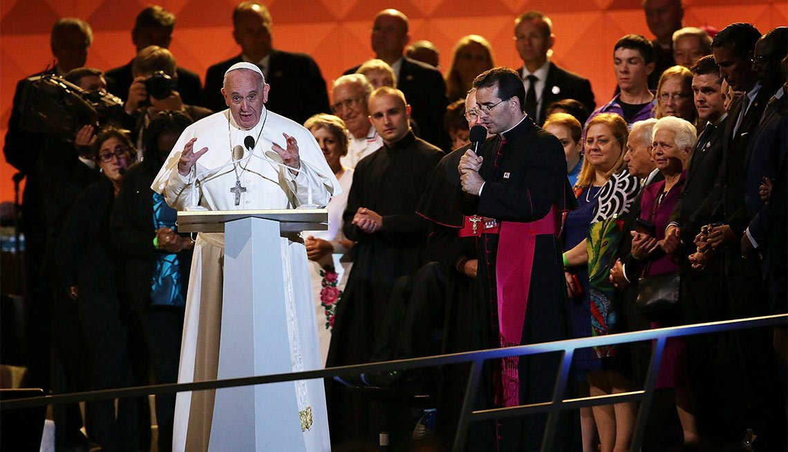 US Pope Francis speaks at The World Meeting of Families in Philadelphia, Pa.