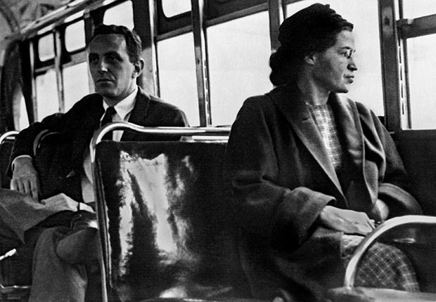 Rosa Parks sitting on the bus