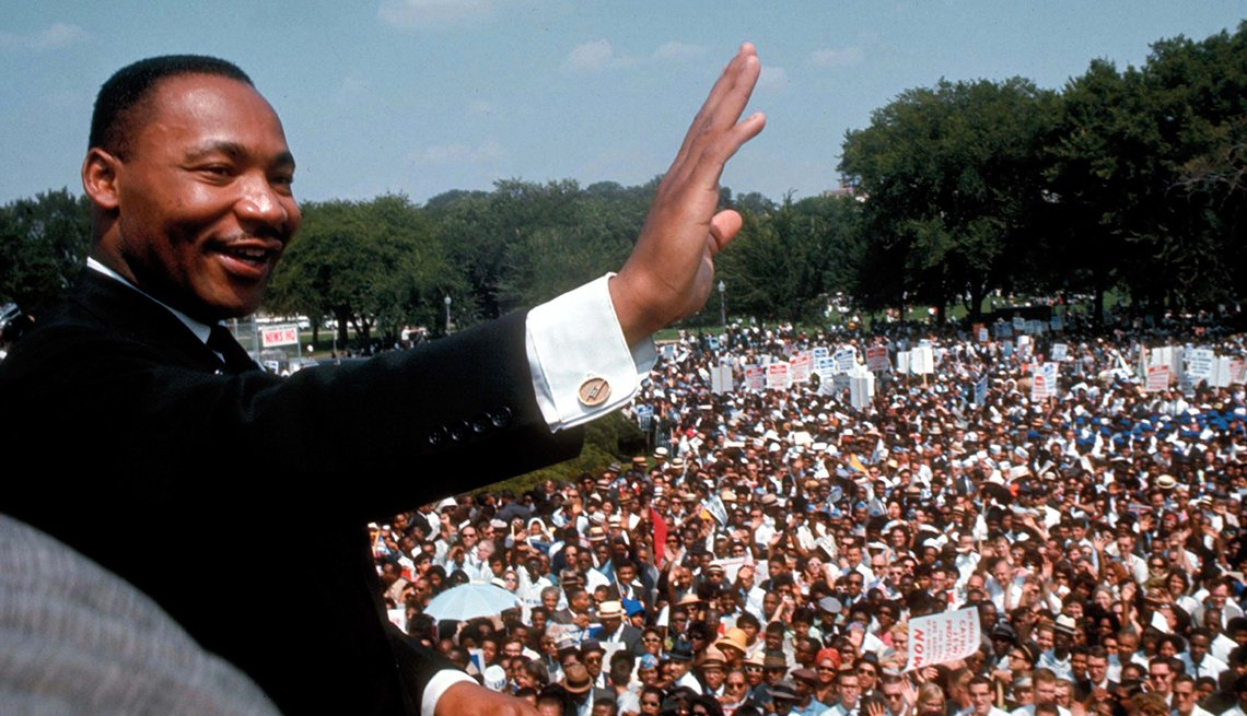 Dr. Martin Luther King Jr. giving his I Have a Dream speech to huge crowd gathered for the Mall in Washington DC during the March on Washington for Jobs & Freedom