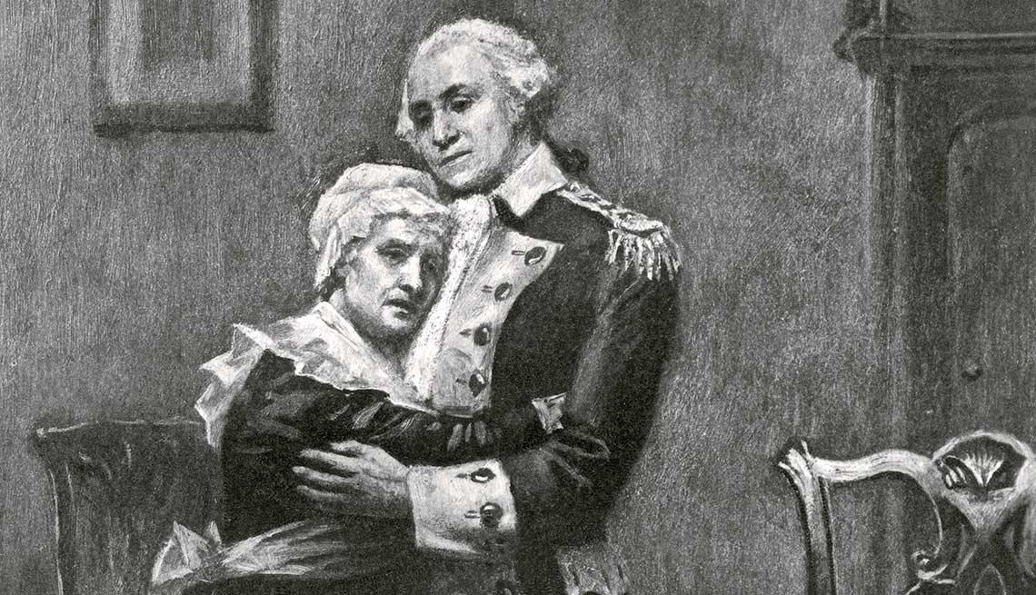 George Washington and His Mother, Mary Ball Washington Embracing
