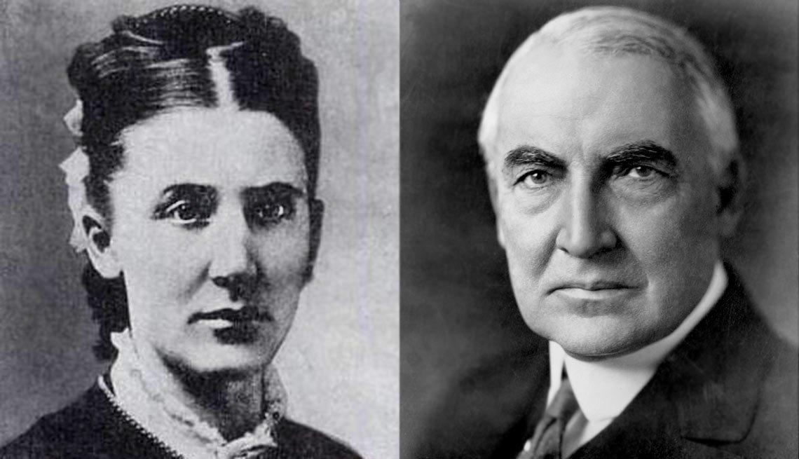 Phoebe Elizabeth Dickerson Harding, left and President Warren G. Harding