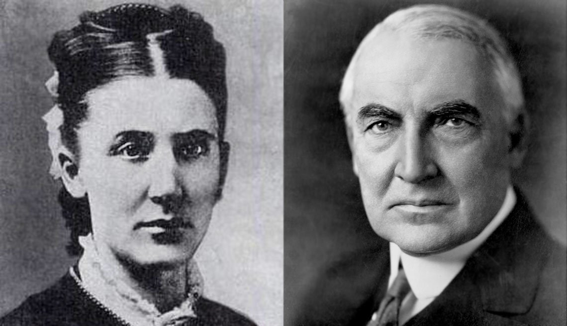 Phoebe Elizabeth Dickerson Harding, left and President Warren G. Harding