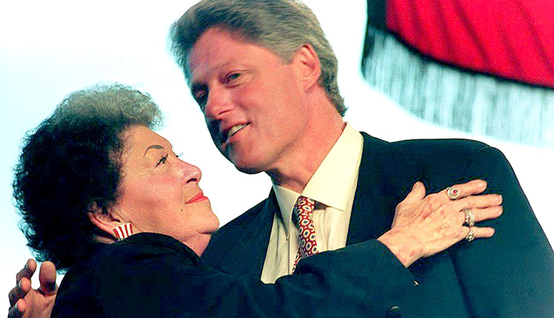 shows U.S. President-elect Bill Clinton with his mother, Virginia Kelley