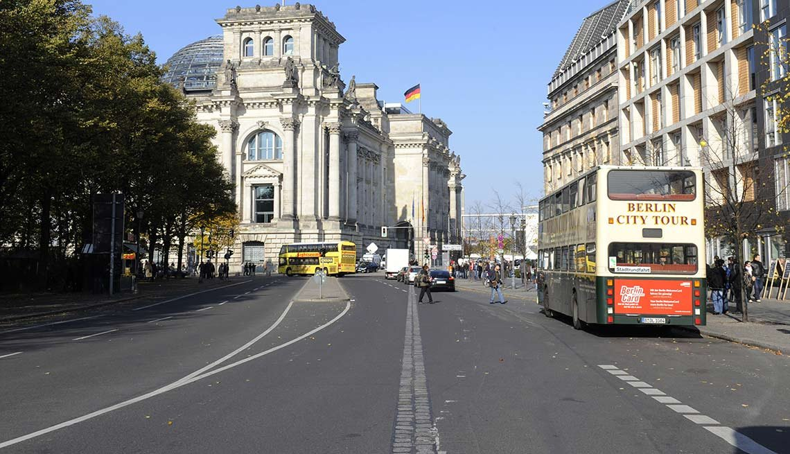 Cobblestones in the middle of the street, German Reichstag building, 25th anniversary, Fall of the Berlin Wall