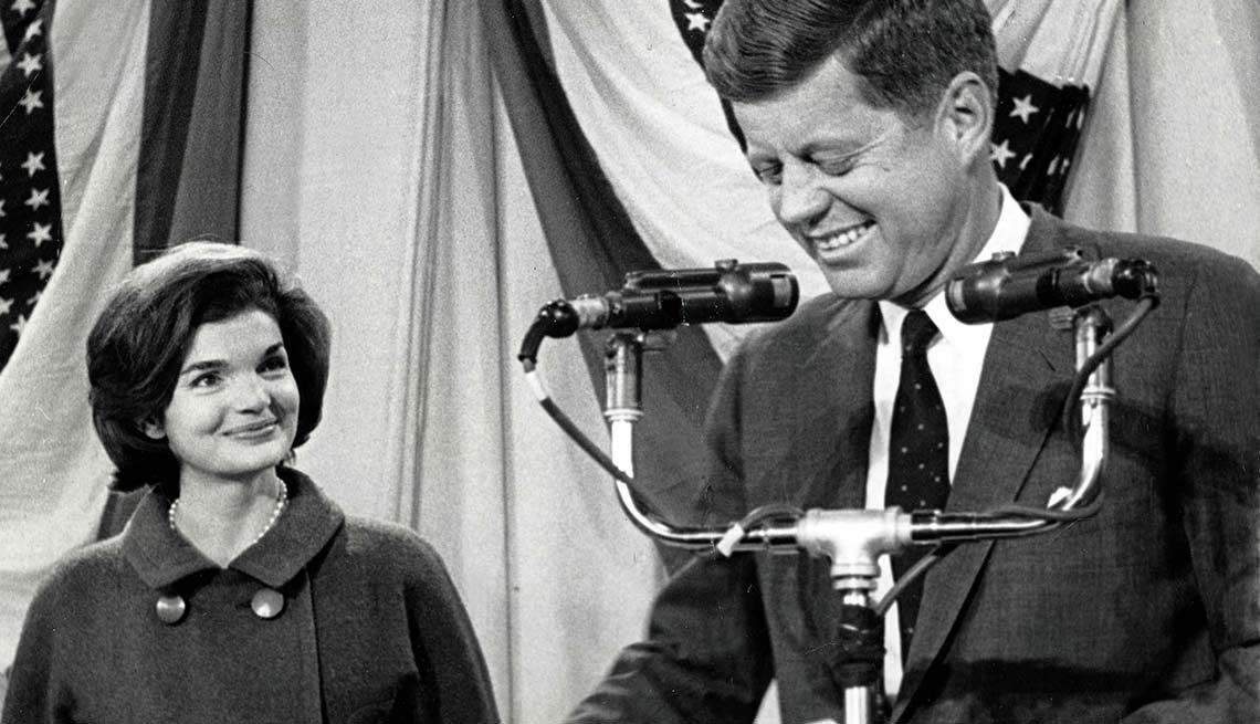 With wife Jackie at his side, John F. Kennedy appears in Hyannis Port on Nov. 9, 1960, the day his election victory is announced.