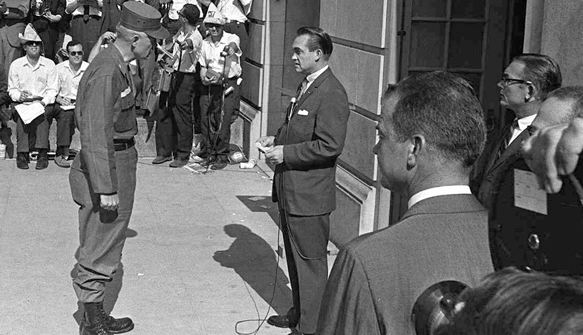 Alabama Govenor George Wallace Blocks Black Students From Entering University Of Alabama, Civil Rights Movement, 1963 Was a Year With Lasting Impact, AARP Politics, Events And History