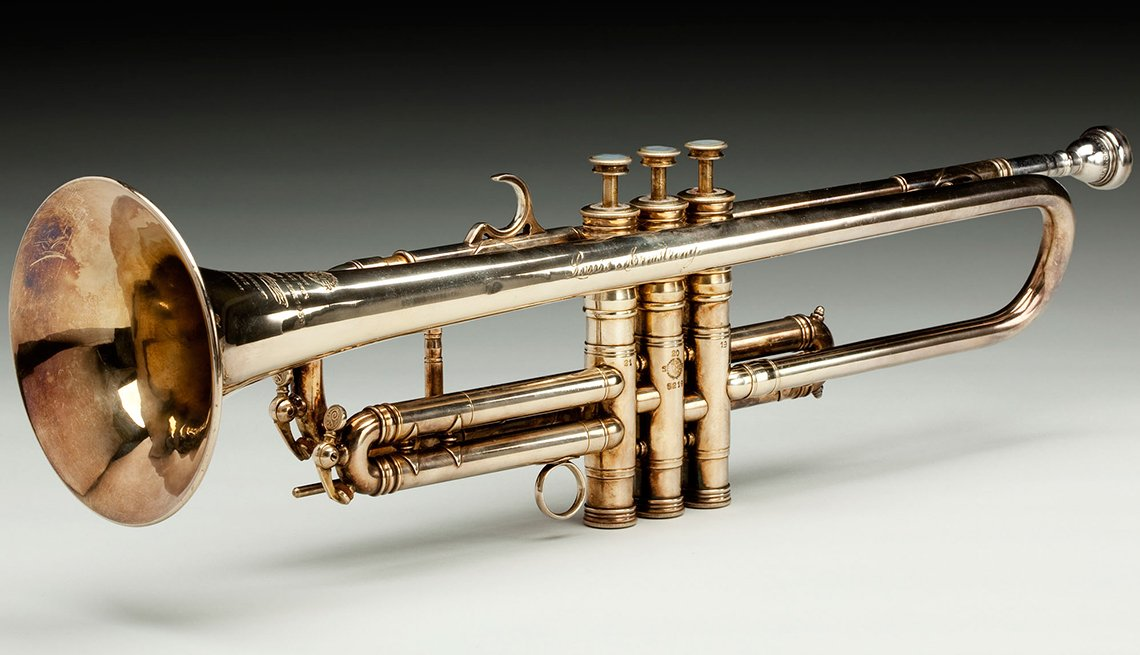 Louis Armstrong owned and played this brass and gold trumpet