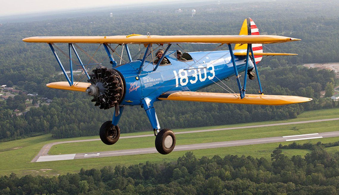 open-cockpit Stearman biplane was used at Alabama's Tuskegee Institute