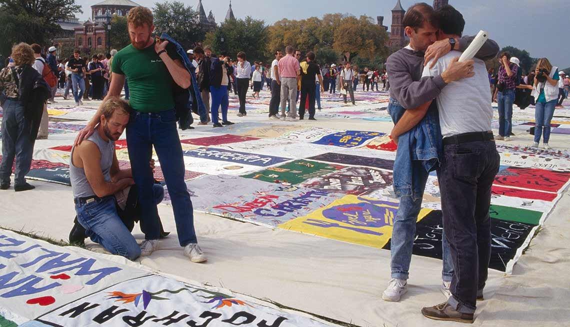 Demostración en homenaje a las víctimas de SIDA en Washington, DC