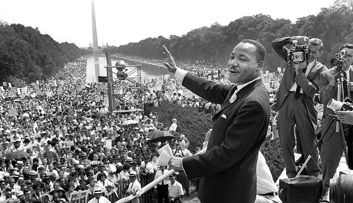 Martin Luther King Jr. en su famoso discurso en Washington, D.C.