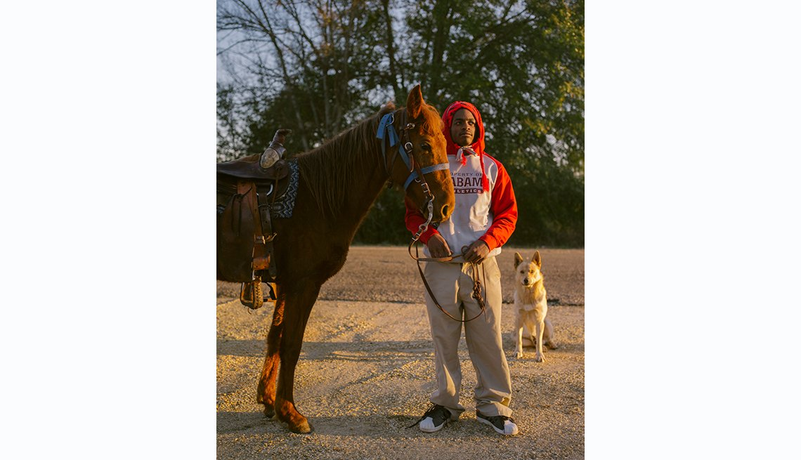 Selma to Montgomery, Kennedy Lewis with his horse Diamond and Smokey his dog