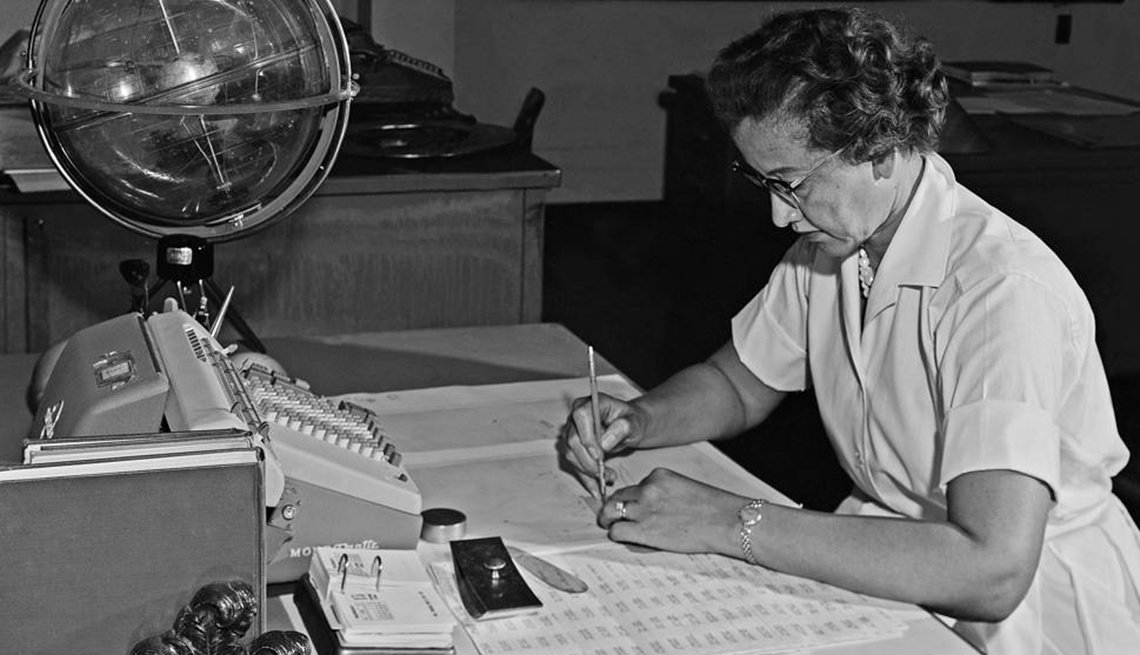 Photo from 1962 of NASA's Katherine Johnson working