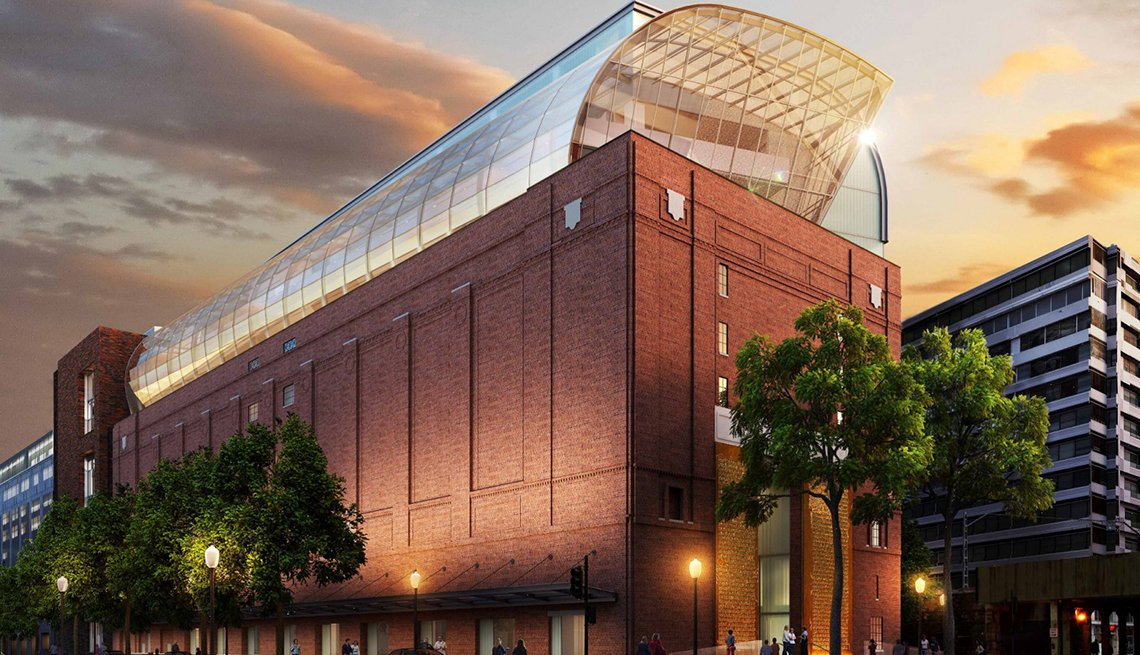 Exterior rendering of the eight-story, 430,000-square-foot Museum of the Bible.
