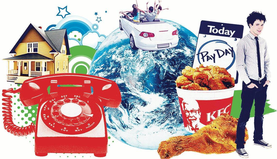 Ilustración con mezclas de varias cosas como teléfono, casa, pollo frito