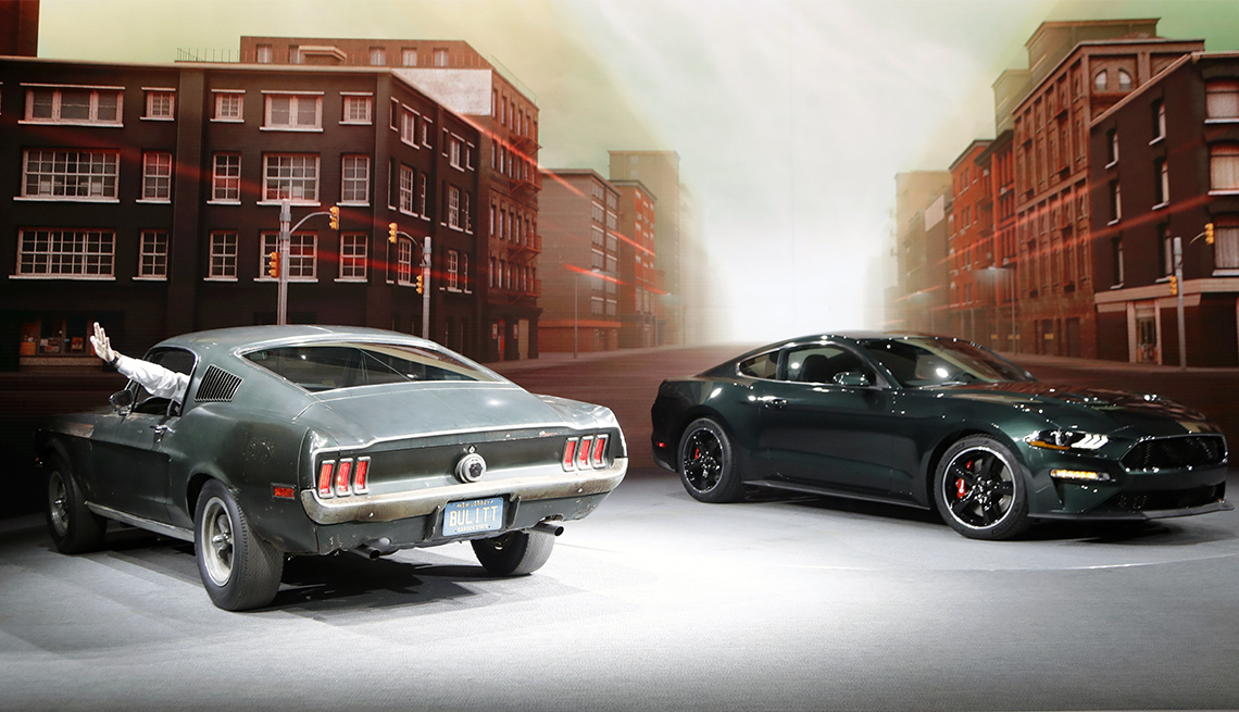 The Mustang Bullitt from 1968, and the new 2019 Mustang Bullit