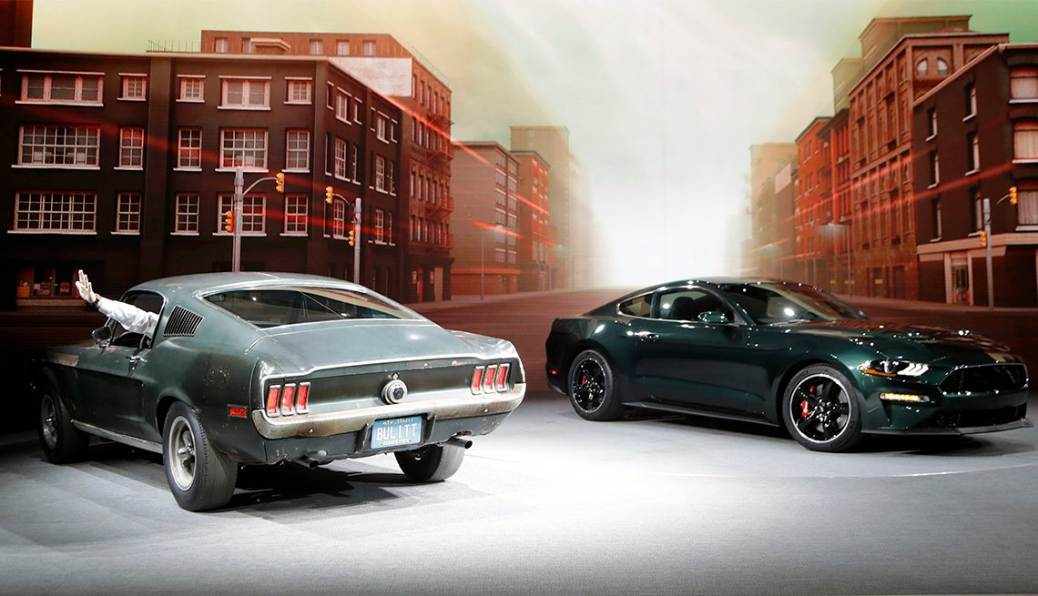 The Mustang Bullitt from 1968, and the new 2019 Mustang Bullit