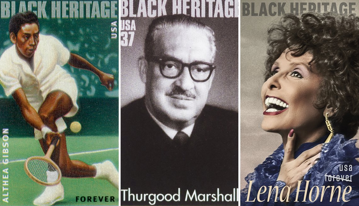 composite of three stamps featuring portraits of african-americans