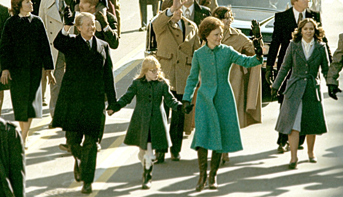 memorable inauguration moments -  Jimmy Carter, in 1977, walked the inauguration parade route from the Capitol to the White House