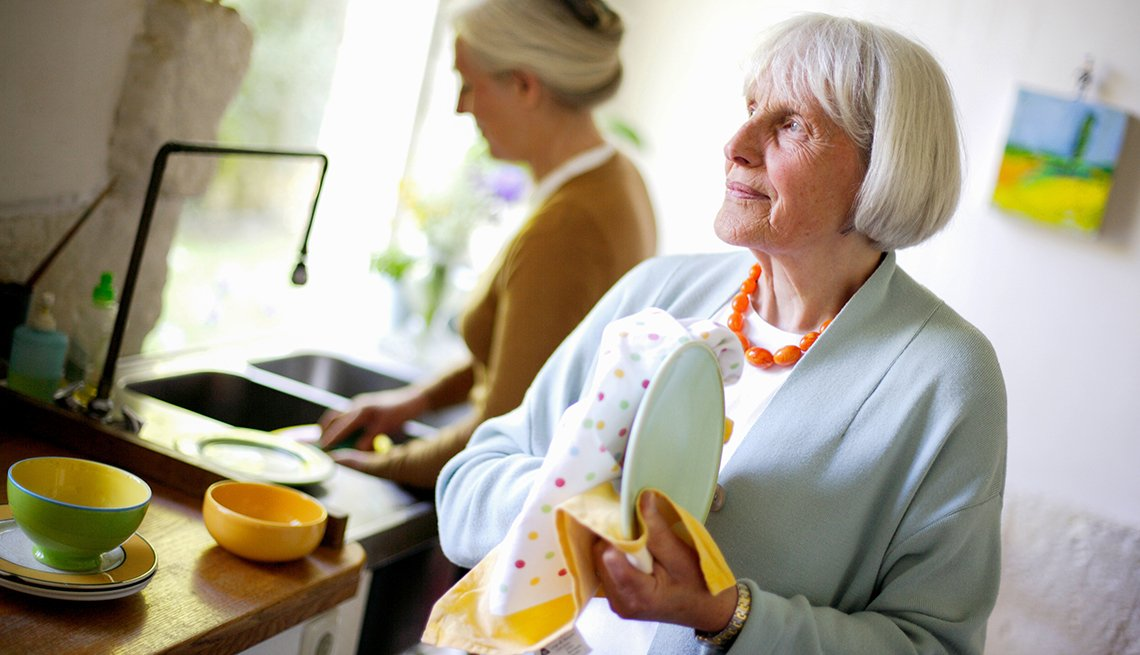 Mature women, washing dishes, kitchen, CoHousing, Public Policy Institute, Livable Communities