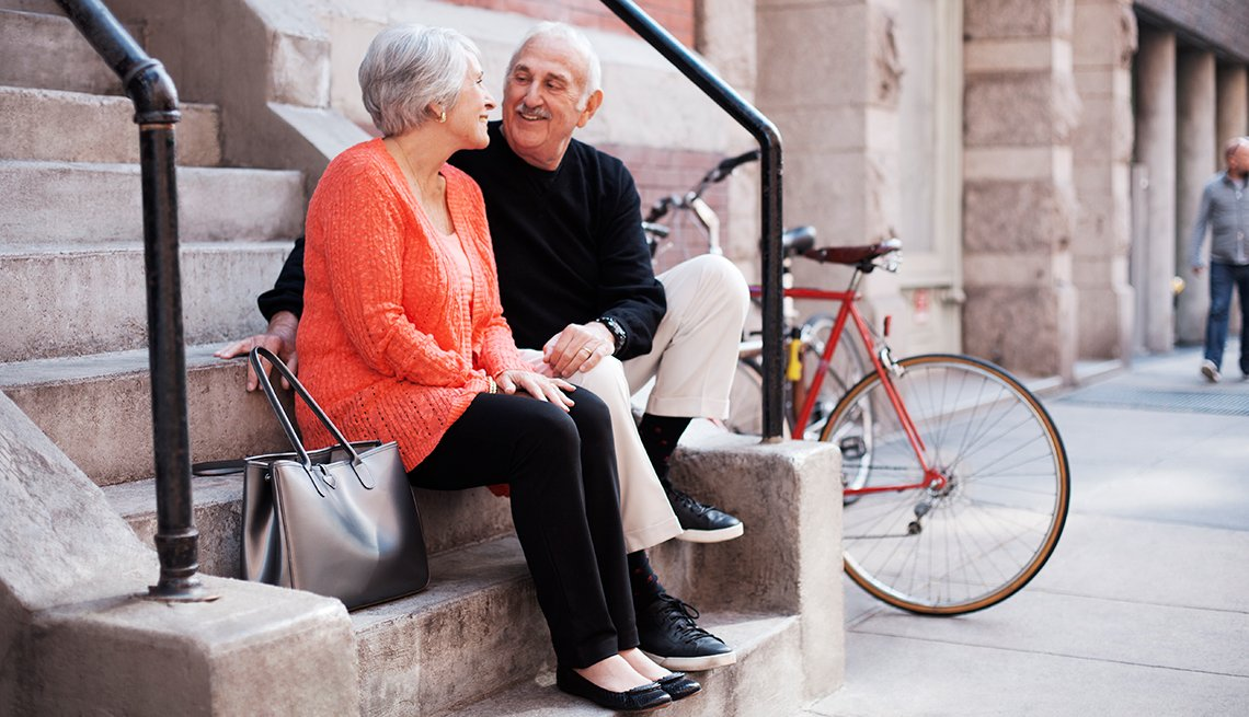 Mature couple, Sitting on outside stairwell, City, Age in Place, Public Policy Institute, AARP, Livable Communities